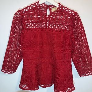Anthropologie Moulinette Soeurs 2 Red Lace Top